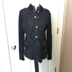 Banana Republic Black Quilted Sweater Jacket - M